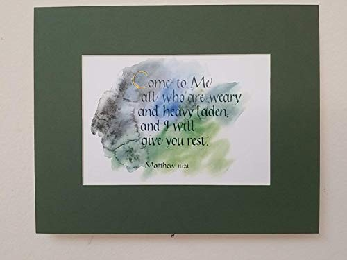 "Come to Me all who are weary... - Matthew 11:28 - Hand-lettered Christian Calligraphy, Bible Scripture - Christian Wall Art - landscape print matted 8"" X 10"" - 1225LHM000M11"