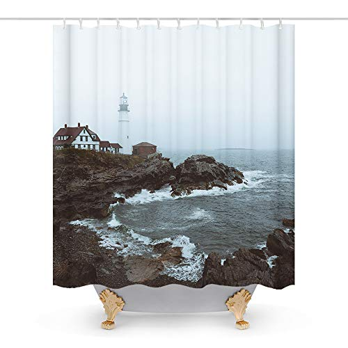 Lighthouse Decor Fabric Shower Curtain Ocean Island House Bath Decorations Bathroom Decor Sets with Hooks Waterproof Washable 72 x 72 inches Grey Brown ()