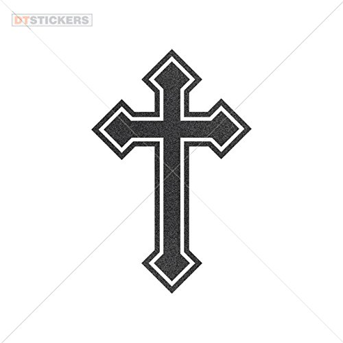 Decoration Vinyl Sticker Vinyl Christian Cross Symbol Vinyl Art Decoration Motorbike guitarist sign arm crucifix (3 X 1,97 Inches) Metallic Black