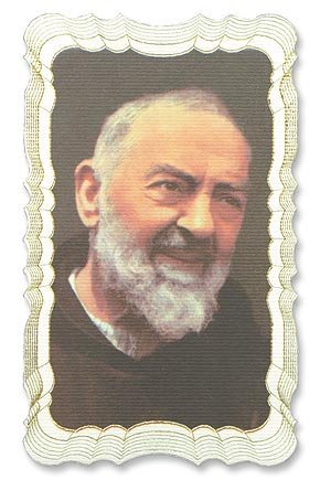 - Saint Padre Pio Gold Embossed Linen Holy Card w/ Free Cross Bookmark