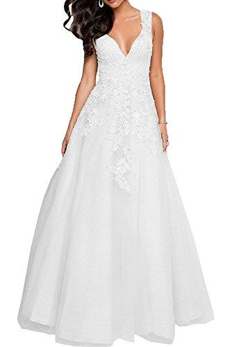 Weiß Abschlussballkleider Prinzess Spitze Perlen Promkleider Abendkleider Damen Partykleider mia Braut Festlichkleider La Rosa Pwa7fqWC