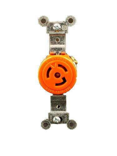 Leviton 4710-IG 15 Amp, 125 Volt, NEMA L5-15R, 2P, 3W, Single Locking Receptacle, Industrial Grade, Isolated Ground, (Single Locking Receptacle)