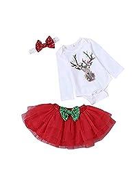 SUPEYA Baby Girl Christmas Deer Print Rompers Tulle Dress Bow Headband Outfit