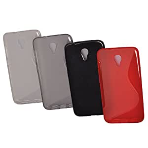 Einzige Colorful Soft Gel Flexible 4 in 1 TPU Silicone Skin Case Cover for Alcatel One Touch Idol 2S 6050Y (Clear & Grey & Black & Red) with Free Universal Screen-stylus
