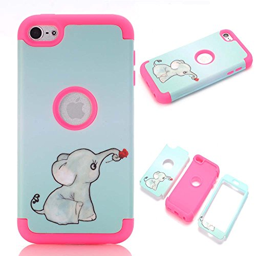 1 Ipod Touch - iPod touch 6 Case,iPod touch 5 Case,JMcase[Lovely Elephant Series](RoseRed)Full-body 3 IN 1 Bumper Protective Case Cover Fit for Apple iPod touch 5 6th Generation,Sent Stylus and Screen Protector