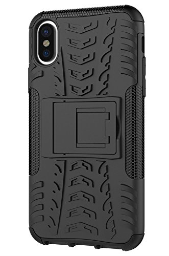 iPhone X Stand Case,iphone x phone case,Moment Dextrad [Built-in Kickstand][Non-slip Design] Dual Layer Hybrid Full-body Rugged [Shock Proof] Case Cover for Apple iPhone X (2017) + Stylus (Black) ()