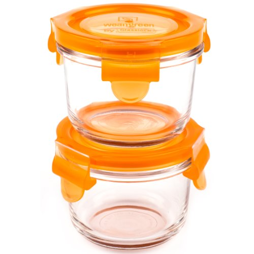 Wean Green Round Wean Bowls 5.4 Ounce Baby Food Glass Containers - Carrot (Set of 2)