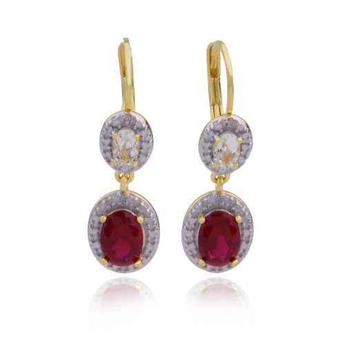18k Yellow Gold Plated Sterling Silver Lab Created Ruby, White Topaz and Diamond Accent Lever Back Earrings