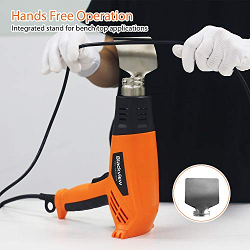 Blackview Heat Gun 1500W Heavy Duty Hot Air Gun with 2-Temp Settings 4 Nozzles 662℉~1022℉(350℃- 550℃)with Overload Protection for Crafts, Shrinking PVC, Stripping Paint, Bending Pipes, Lighting BBQ by Blackview (Image #3)
