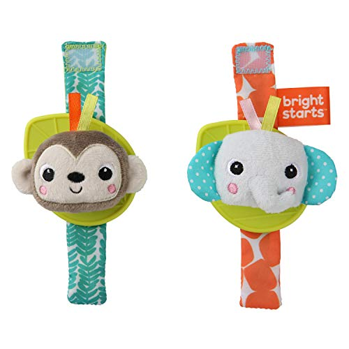 Brights Starts rammel- en bijtringarmband aap en olifant, draagbaar aan de hand of enkels, BPA-vrij