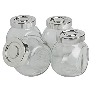 Ikea Glass Spice Jar 400.647.02, 5 oz Pack of 4, Clear, Silver
