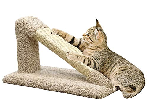 CozyCatFurniture USA Made Incline Cat Scratching Post, Solid Wood Pole, Kitty Scratcher with Natural Sisal Rope, Thick Beige Carpeting