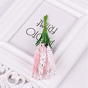 JONARO 2 Bouquets 20Pcs Mini PE Lavender Artificial Flowers for Wedding Home Decoration DIY Craft Gift Bride Wreath Scrapbooking Fake Flower 28