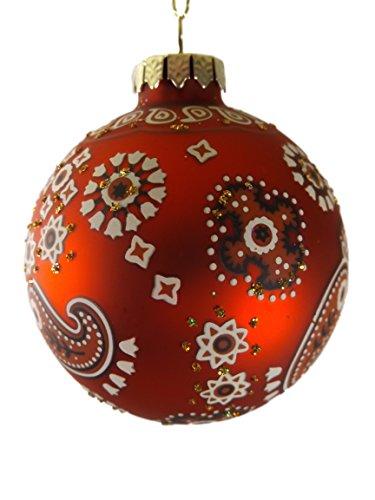 Red Paisley Western Bandana Cowboy Christmas Tree Ornament B