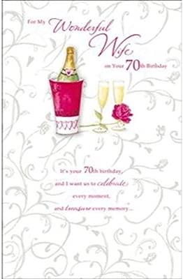 Amazon.com: Happy 70th Cumpleaños para esposa, tarjeta de ...
