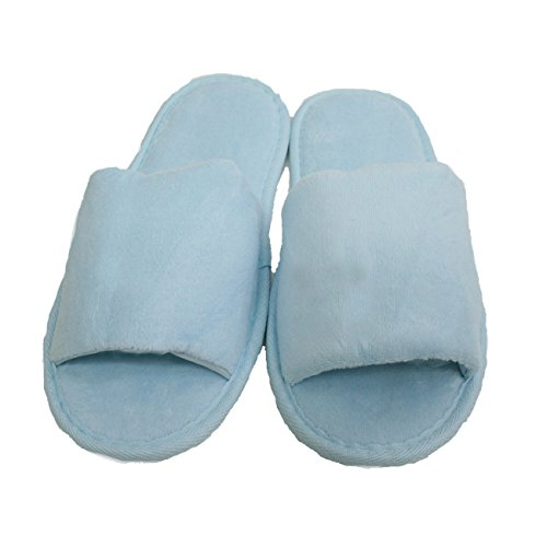 Terry Velour Open Toe Slippers Cloth Spa Hotel Unisex Slippers 100 Pcs Wholesale(One Size 11'', Sky Blue) by TowelRobes