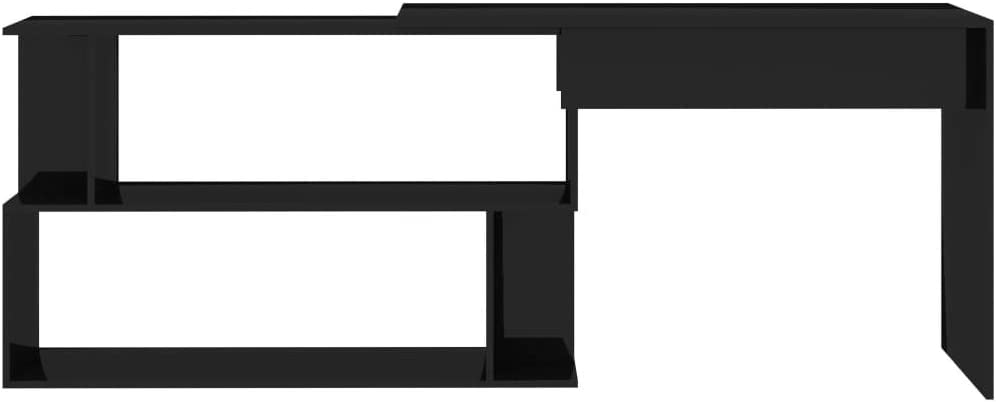 Goliraya Scrivania ad Angolo Moderno in Truciolare Nero Lucido,Scrivania Angolare,Scrivania Computer,Scrivania Moderna,Scrivania Design,Scrivania Cameretta Moderna 200x50x76 cm