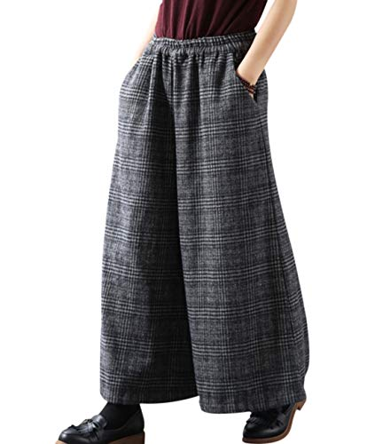 YESNO PK5 Casual Loose Cropped Pants Wool Blend Warm Trousers Checks Wide Leg Pockets
