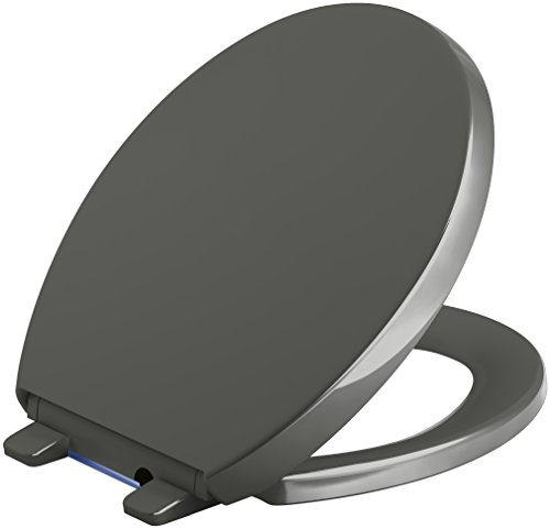 KOHLER 75793-58 Reveal Nightlight Quiet-Close with Grip-Tight Round-Front Toilet Seat, Thunder Grey