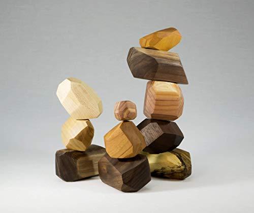 11 Piece Tumi Ishi Building Block Set, wood toy, wood stones, Montessori toy, sensory toy