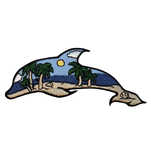 ID 1697 Beach Scene Dolphin Patch Ocean View Craft Embroidered Iron On Applique