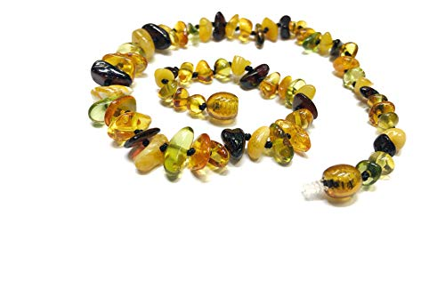 Amber Beata 'Caribbean Rain' Baltic Amber Teething Necklace for Baby (Green Caribbean, Baltic Cognac, Butterscotch, and Cherry) (Delicate Cognac)