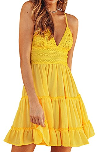 Faatoop Women's Summer Spaghetti Strap Sun Dress Tie Up Back Sleeveless V Nevk Bowknot Sexy Lace Swing Mini Skater Dresses (Yellow, M)