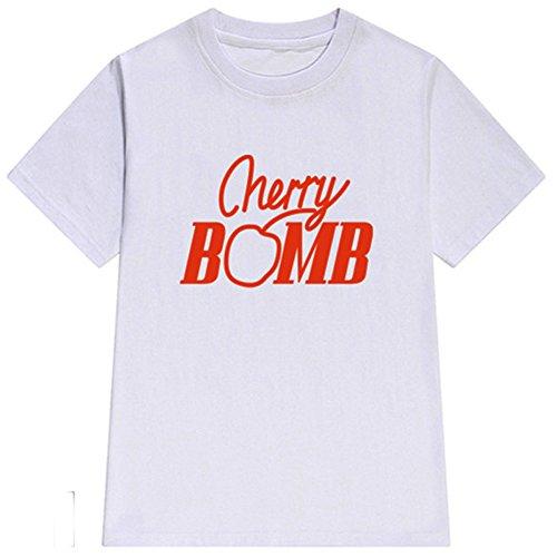 FELACIA Women's Cherry Bomb Print Tee Casual Loose Short Sleeve T-Shirt (T-shirt Bombs Print)