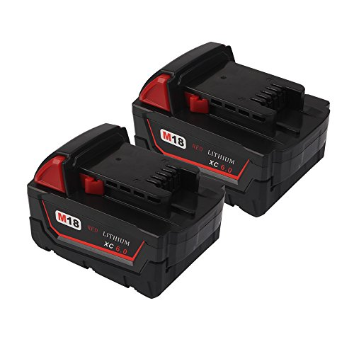 6.0Ah M18 Replacement Battery for Milwaukee M18B 48-11-1820 48-11-1850 48-11-1828 48-11-10 Cordless Power Tools(18V, Li-ion) (2-Pack) by VANON