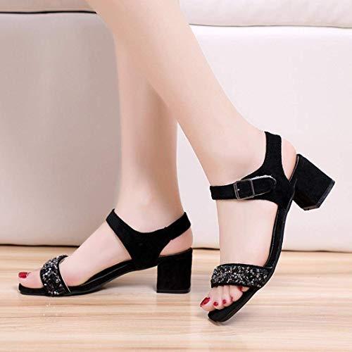 per per Nero Taglia 9 Jeweled Shoes Heel Heel Low Donne Dimensione Summer Diamante Strappy ZHRUI Fit Open Toe Sandals Colore Le UK 2 Slingback Sparkly Nero Wide Glitter Chunky 11 Court Rx8Iw8qFnS