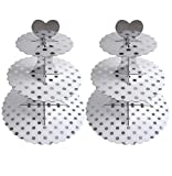 3-Tier Cardboard Cupcake Stand/Tower 2-Pack (Silver Dot)