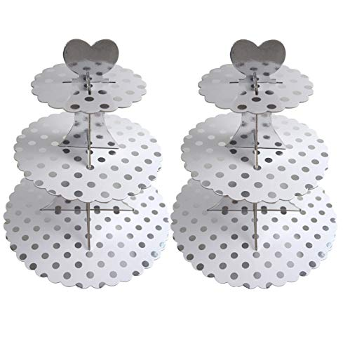 3-Tier Cardboard Cupcake Stand/Tower 2-Pack (Silver Dot) by My Party Time