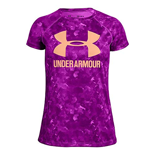 Under Armour Girls' Big Logo T-Shirt Novelty Short Sleeve T-Shirt, Fluo Fuchsia (565)/Peach Horizon, Youth - Sleeve Logo Short Raglan T-shirt