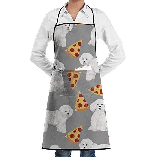 NOLIEE Bichon Frise Pizza Adjustable Kitchen Chef Apron with Pocket and Extra Long Ties