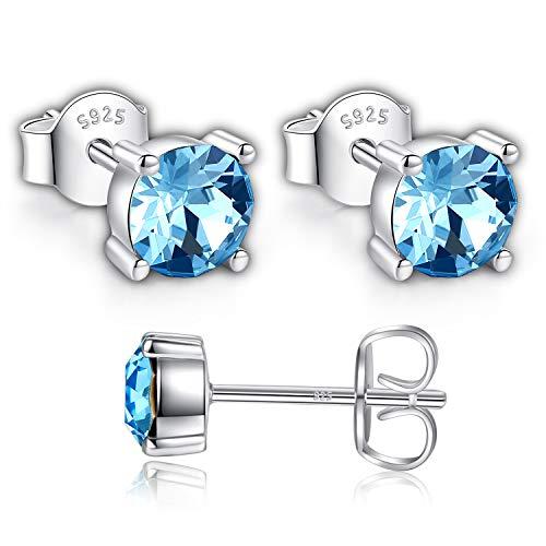 Swarovski Stud Earrings for Women - 925 Sterling Silver Crystal Earrings - Pierced Earrings for Girls - Aquamarine Blue Crystal From Swarovski By GoSparkling Allergy-Free Passed SGS Inspection