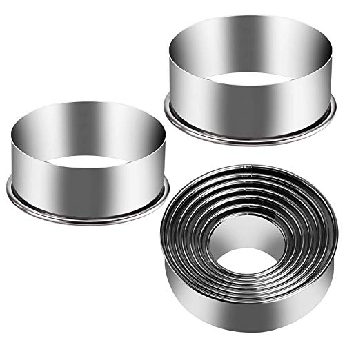 Eokeanon 9 Pieces Stainless Steel Cookie Cutter Set Biscuit Plain Edge Round Cutters Metal Ring Baking Molds Ranging from 2-6 Inches