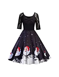 Women's Vintage Patchwork Flare Dress A-line Floral Party Dress