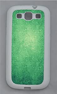 Cool Swirly Green Pattern TPU Silicone Rubber Case Cover for Samsung Galaxy S3 SIII I9300 White