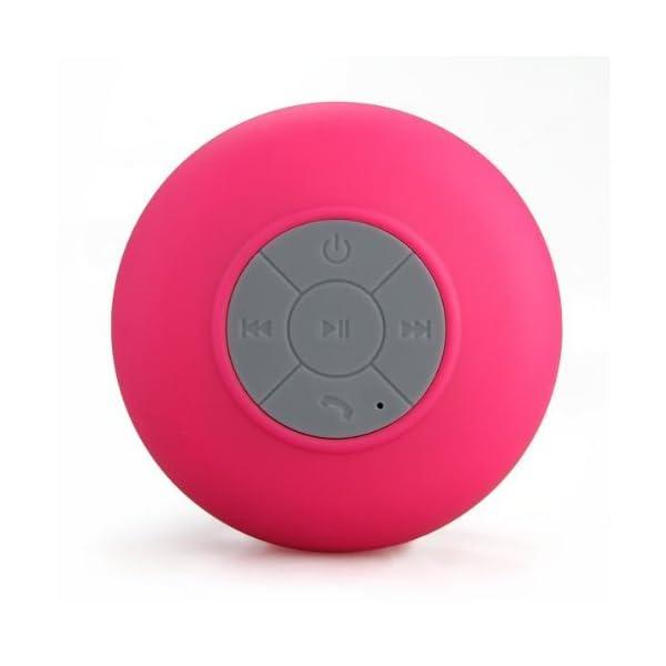 Memteq - Enceinte haut-parleur étanche Bluetooth, à ventouse, pour téléphone portable fuchsia 4