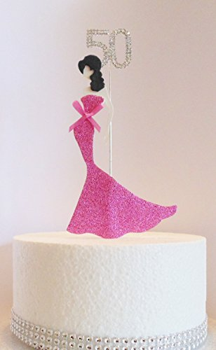 Awe Inspiring 50Th Birthday Cake Topper Glamorous Lady In A Pink Dress And Birthday Cards Printable Trancafe Filternl