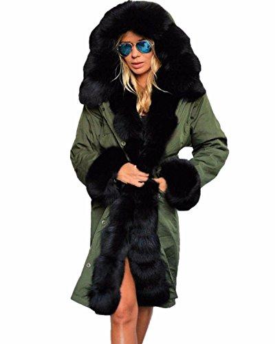 Zanzea Hiver Femme Chaud Epaise Fourrure Capuche Longue Fleece Parkas Militaire Manteau Veste Blouson Longue Vert2