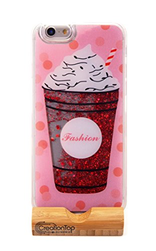 Creationtop iPhone 6 6s Case, TPU Bumper, Scratch Resistant, Hard Back with Liquid Quicksand Bling Adorable Floating Moving Shine Infused with Glitter (Ice Cream Red Glitter Iphone 6/6s)