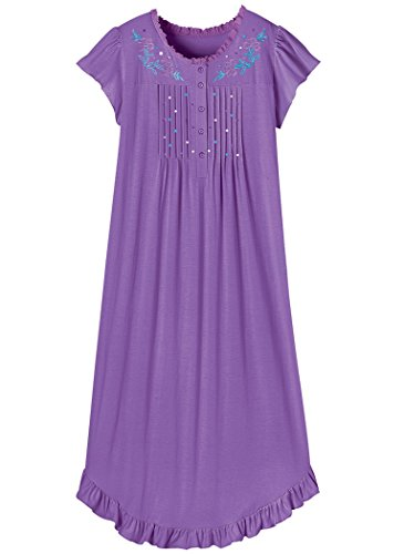 AmeriMark Embroidered Knit Nightgown Plus Size Purple