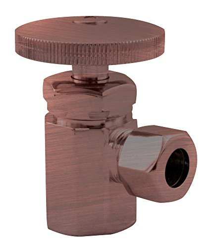 Antique Copper Angle Supply (Westbrass Shut Off Valve Round Handle Angle Stop 1/2-Inch Ips Inlet with 3/8-Inch Compression Outlet D103-11, Antique Copper)