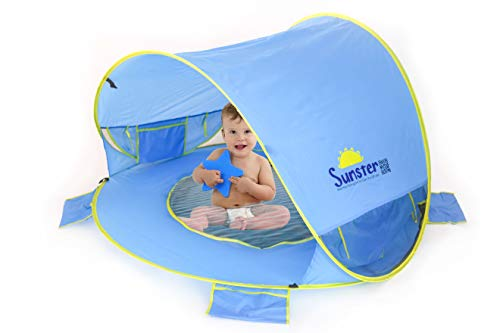 Sunster Baby Beach Tent Pool, Improved Ventilation Larger Size Pop Up Sun Shelter, 50 UPF, Easy to Fold, Portable Sun Shade for Babies Toddlers Infants