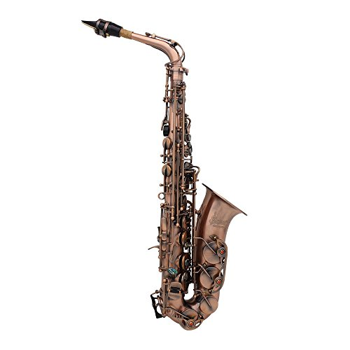 ammoon Professional Red Bronze Bend Eb E-flat Alto Saxophone Sax Abalone Shell Key Carve Pattern with Case Gloves Cleaning Cloth Straps Grease Brush