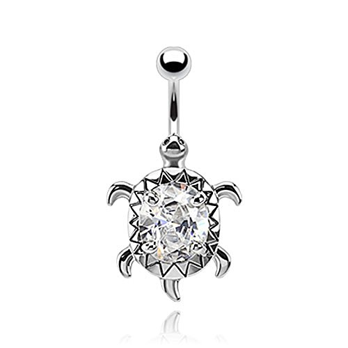 Turtle with A Large Oval CZ Center 316L Surgical Steel Belly Button Ring (Sold Per Piece) (Center Body Oval)
