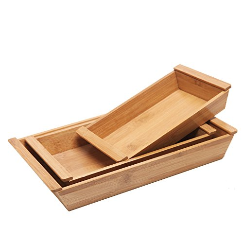 [Set of 3 Small Natural Bamboo Nesting Organizer / Multipurpose Serving Trays with Handles] (Nesting Wood Trays)