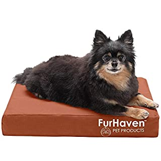 Furhaven Pet Dog Bed - Deluxe Orthopedic Mat Water-Resistant Indoor-Outdoor Logo Print Traditional Foam Mattress Pet Bed with Removable Cover for Dogs and Cats, Chestnut, Small