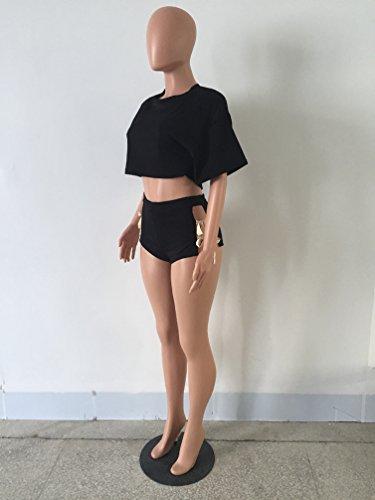 TenYid Conjuntos Deportivos Top Corta Bandage Cintura Alta Pantalones Corta  para Mujer Trajes Casual Clubwear Negro
